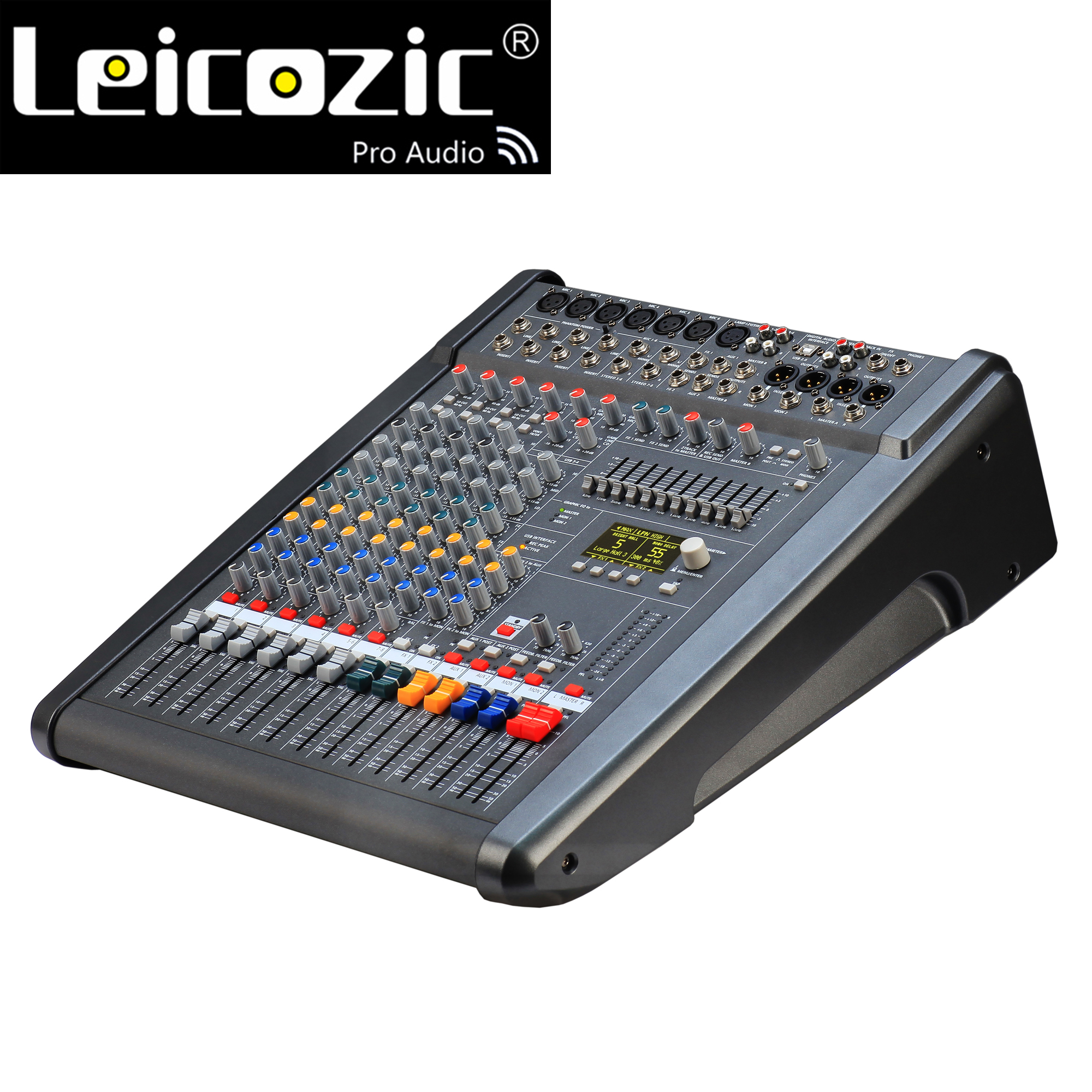 Leicozic PM600-3 Powered Mixer Konsole 1000W * 2 4OHM Powered Audio Mixer Professionelle 8-Kanal Mischpult powermate