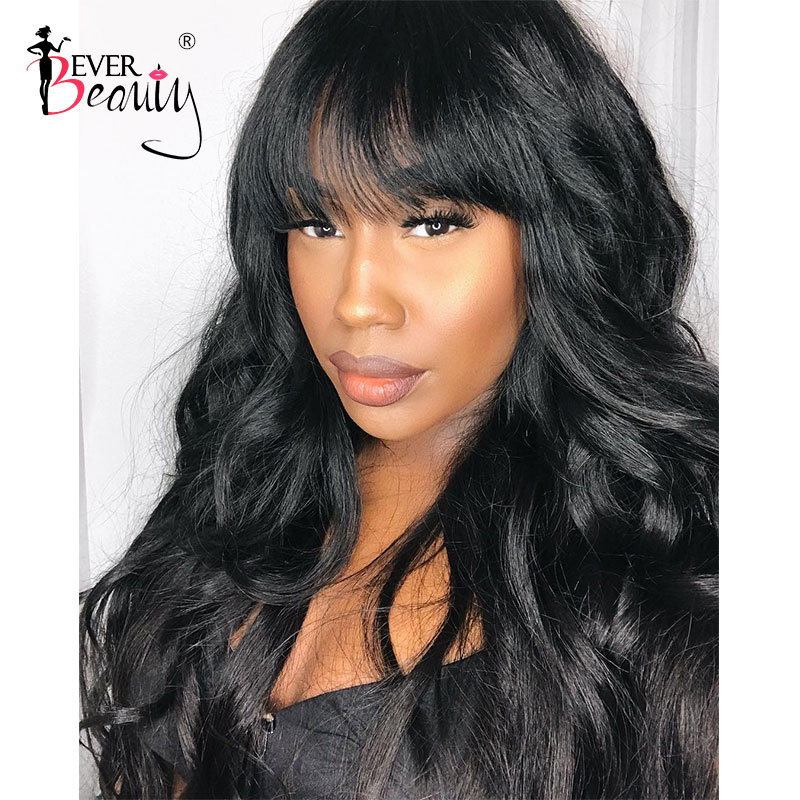 250 Density Pre Plucked Full Lace Human Hair Wigs With Bangs For Women HD Brazilian Body Wave 30 Inch Full Lace Wig Ever Beauty