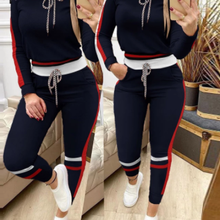 Women Sets Casual Trousers Stitching Hood Sweatshirts Suit