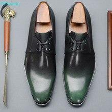 QYFCIOUFU Men Dress Shoes Genuine Leather Lace Up Office Bus