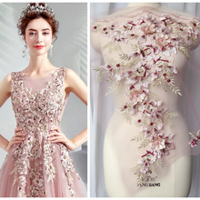 Lace Applique Fabrics-Material 3d Flower Dress Pearl-Beaded Embroiderey Pink Colors-Patch