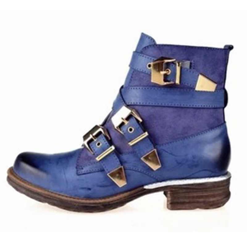 LOOZYKIT Moda Kadın Mor Kısa yarım çizmeler Hakiki Deri Mavi Kış Çemberli Çizme Ayakkabı
