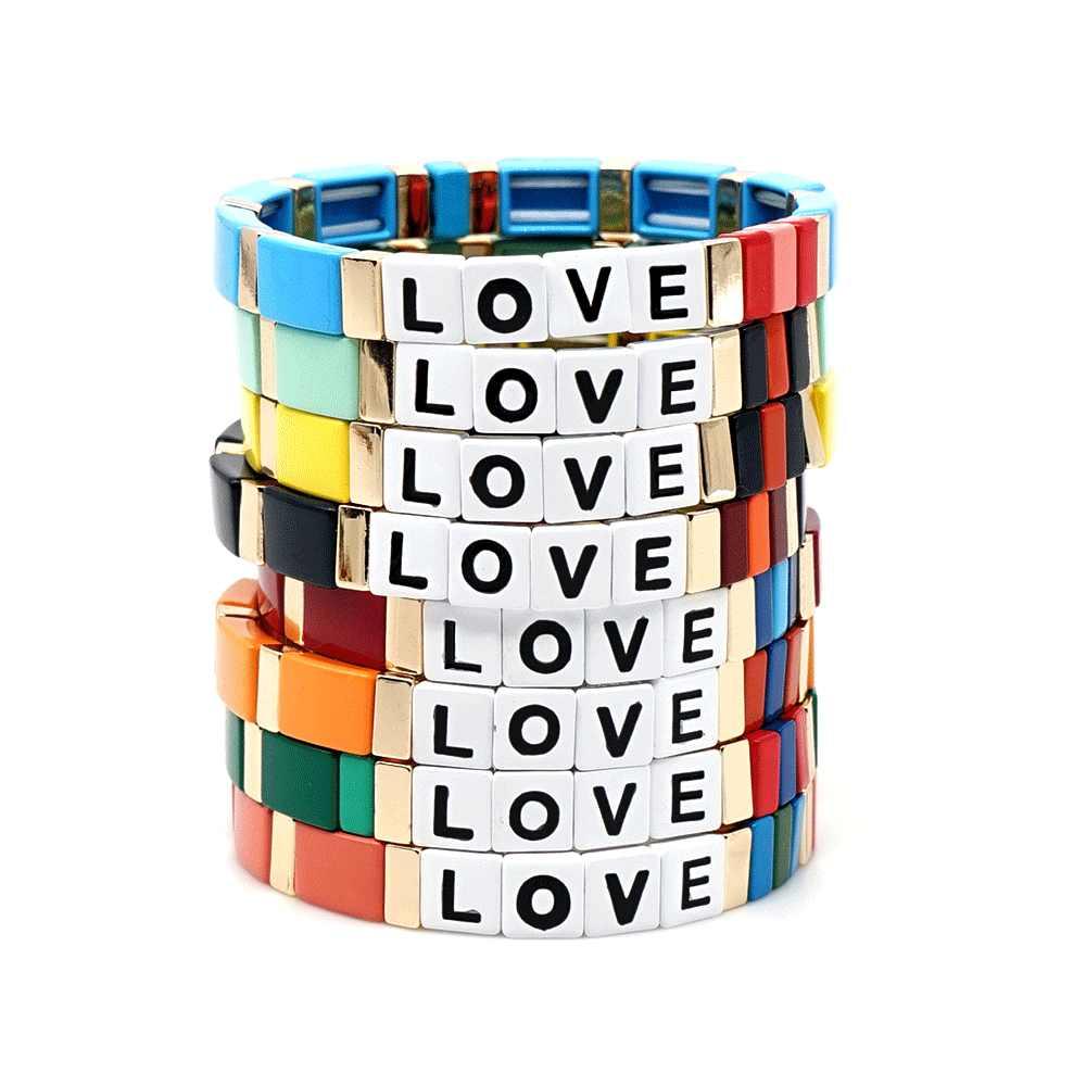 رسالة الحب بوهيميا نمط اليدوية المينا قوس قزح بلاط سوار ملون معدن مطلي الكفة