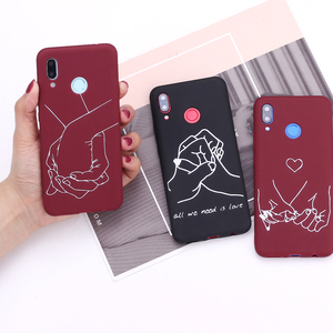 For Samsung S8 S9 S10 S10e S20 Plus Note 8 9 10 A7 A8 Lover Hand Line Hearts Simple Silicone Phone Case Cover Capa Fundas