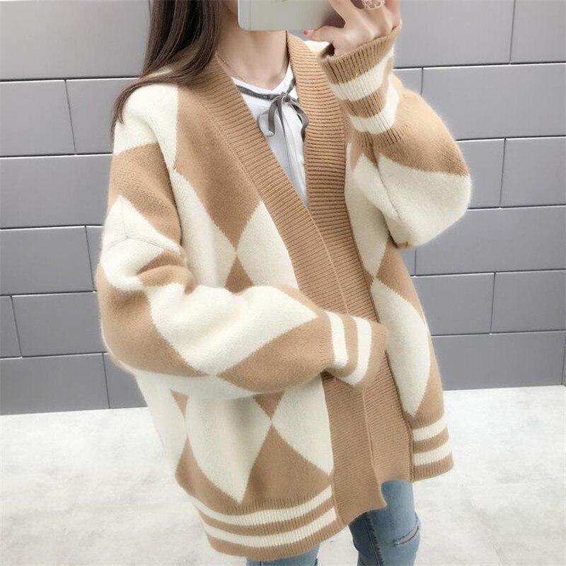 Свитер куртка женский кардиган 2019 Весна Новый сплошной цвет длинный рукав плотный теплый свободный свитер с бриллиантом