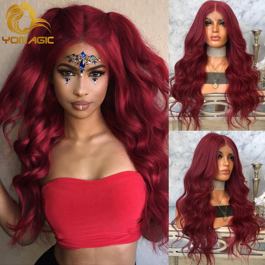 Yomagic Hair Red #99j Color Synthetic Hair Lace Front Wigs With Natural Hairline Heat Resistant Fiber Hair Glueless Lace Wigs