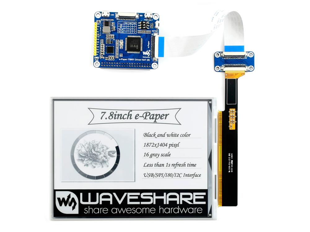 Waveshare 7.8inch E-Ink Display HAT For Raspberry Pi, 1872*1404 Resolution,IT8951 Controller, USB/SPI/I80/I2C Interface