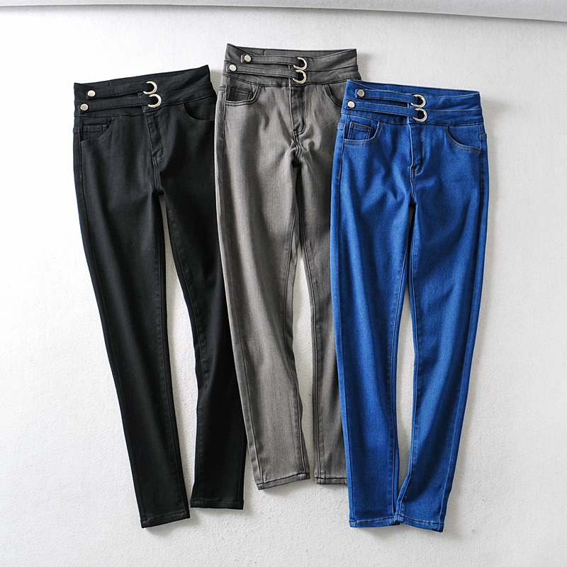 ZA Women Jeans 2020 New Fashion High Waist Bandage Streetwear Denim Pants Femme Skinny Pants Blue Jean Woman Grey Stretch