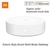 Xiaomi mijia multi modo inteligente gateway voz automação de controle remoto trabalho com zigbee wifi bluetooth malha dispositivos de ligação inteligente