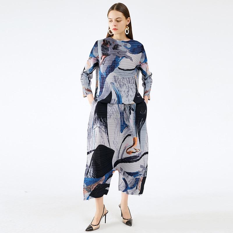 TIANPEI персонализированный уличный костюм с принтом 2020 осень зима размера плюс Miyake плиссированные эстетические широкие брюки женский комплект из двух предметов|Спортивные костюмы| | АлиЭкспресс