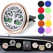 New Car Air Diffuser Locket Tree of Life Stainless Steel Vent Freshener Essential Oil Perfume Aromatherapy Necklace