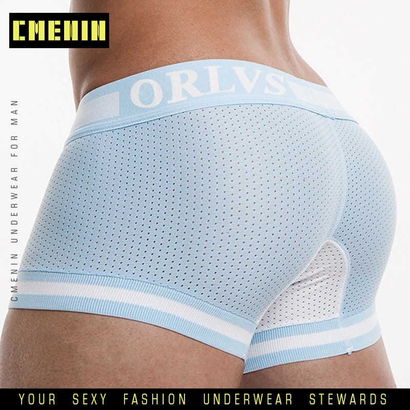 Mens Underwear Panties Boxer-Shorts Mesh Sexy Male Cueca