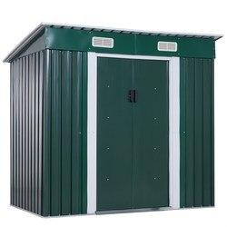 Outsunny Cottage Portattrezzi Cottage in Eisen Blatt im freien garten Lagerung Box Externe Gehäuse 195x122x18 0 /160 cm