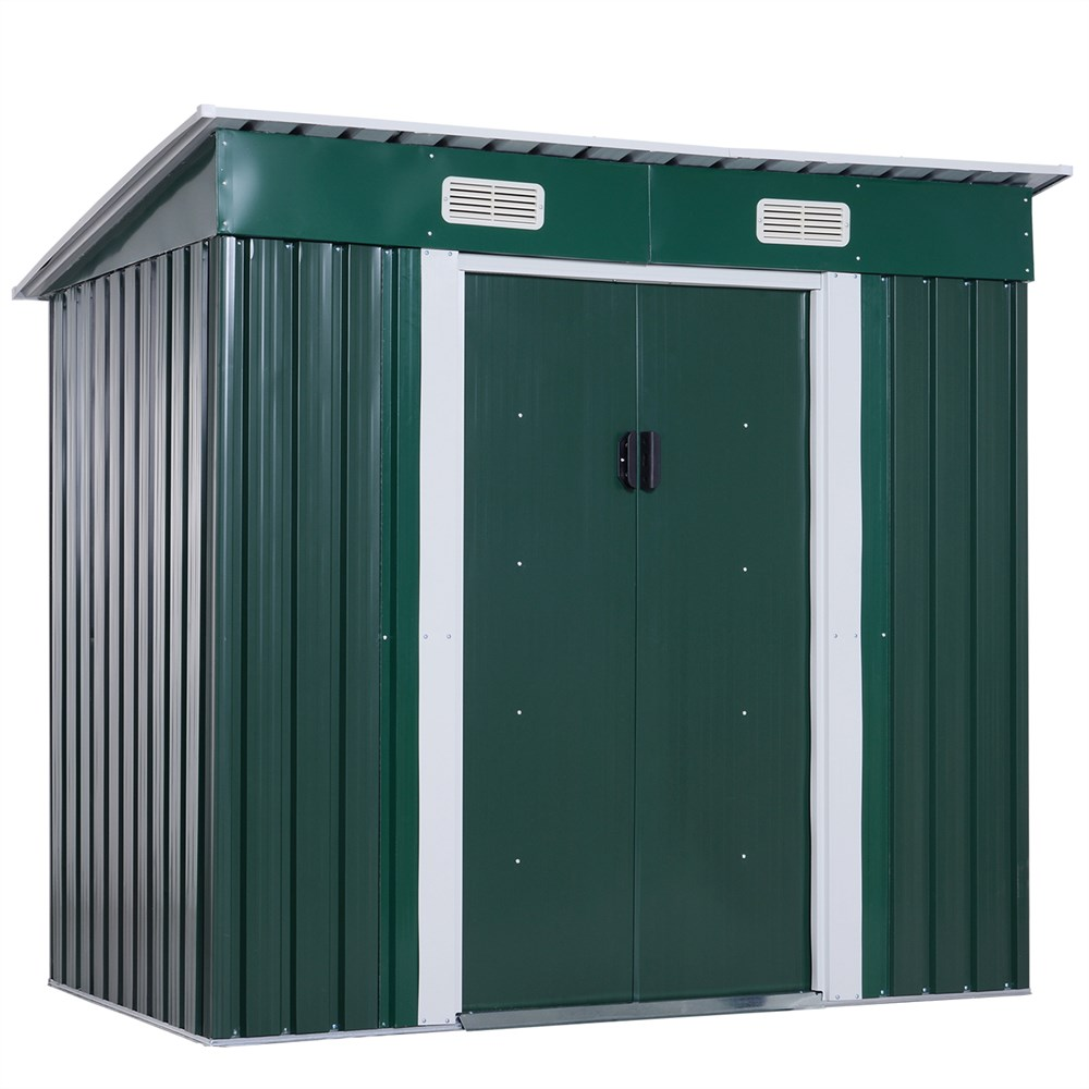 Outsunny Cottage Portattrezzi Cottage In Iron Sheet Outdoor Garden Storage Box External Enclosure 195x122x180 /160 Cm