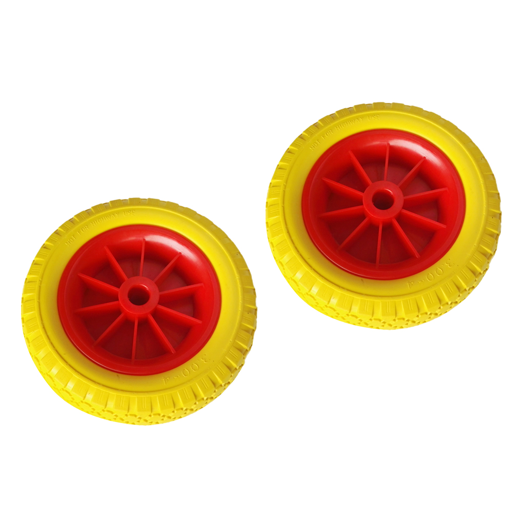 MagiDeal 1 Pair of 20.32cm 19.4mm Durable Puncture Proof Rubber Tyre on Red Wheel for Kayak Trolley Cart Boat Trailer
