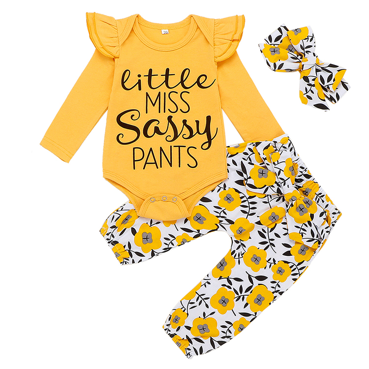 3pcs Newborn Infant Baby Set Toddler Girl letter print Clothes Black Long Sleeve Tops + Pants + Headband Outfits Baby Clothing
