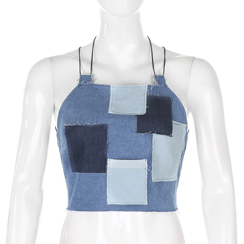 HIGAREDA  Bandage Tie Up Sexy Backless Jeans Cami Top Summer Halter Sleeveless Denim Crop Tops Tees Women Patchwork Streetwear