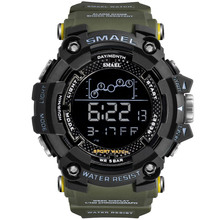 Smeal Led Digital Watches Men Big Dial Sports Watches Multifunctional Electronic Watches 50M Water Resistant Relogio Masculino cheap Plastic 22cm 5Bar Buckle ROUND 22mm 19mm Acrylic Stop Watch Back Light Shock Resistant LED display Repeater luminous Auto Date