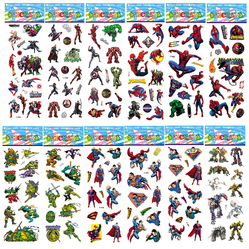 10 Sheets 27 Style Not Repeat Marvel Movie Hero Sticker Captain America Venom 3D Bubble Puffy Superman Children Toys Boy