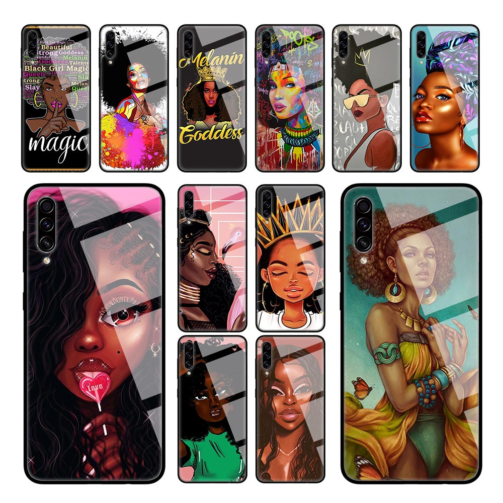 Afro Black Girl Queen Case for Samsung Galaxy A50 A51 A70 A71 A40 A30 A10 S M30S J4 J6 Plus Tempered Glass Sac Phone Cover image