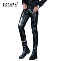 Idopy Men`s Faux Leather Pants Punk Style Skinny Party Stage Performance Night Club Steampunk Faux PU Leather Trousers