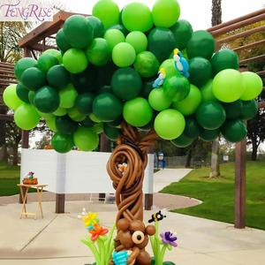 Image 1 - FENGRISE ダークグリーン動物風船ヤシの葉バルーン誕生日の子サファリパーティー風船装飾誕生日 Binosaur 風船