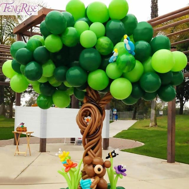 FENGRISE Dark Green Animal Balloons Palm Leaf Balloon Birthday Child Safari Party Ballons Decoration Birthday Binosaur Baloon
