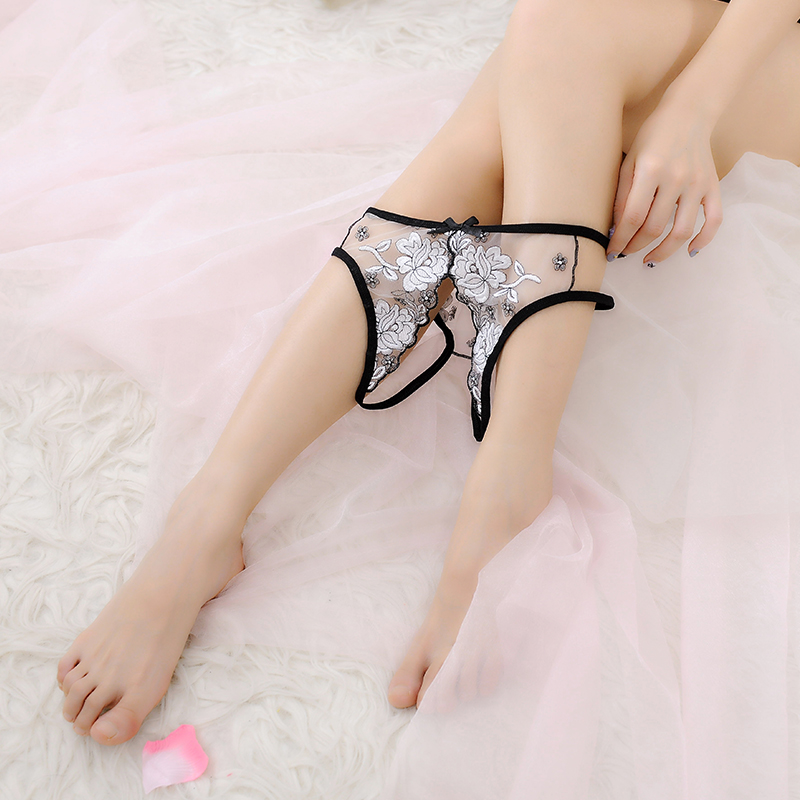 Female Underwear Sexy Panties Open Crotch Embroidered Knickers Ladies Sex Lingerie Crotchless THong G String Briefs Low Waist