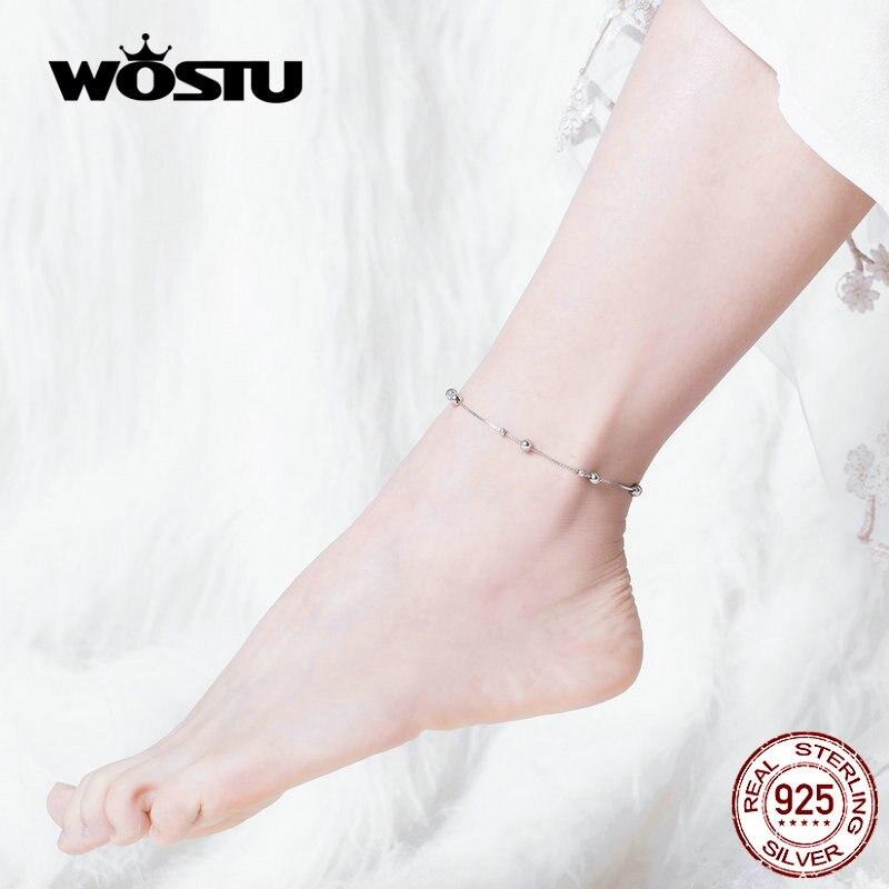 WOSTU Beads Ball Anklet Chain 100% 925 Sterling Silver Beaded Chian Bracelet For Women Foot Leg Chain Minimalist Jewelry CQT005