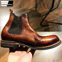2019 Vintage Real Leather Classic Chelsea Boots Men Handmade Slip On Ankle Boots Autumn Round Toe High Top Safety Shoes Couple