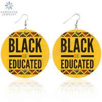 SOMESOOR 10 diseños negro dichos educados reina Africana madera gota pendientes Popular Afro melanina joyería para mujer regalo
