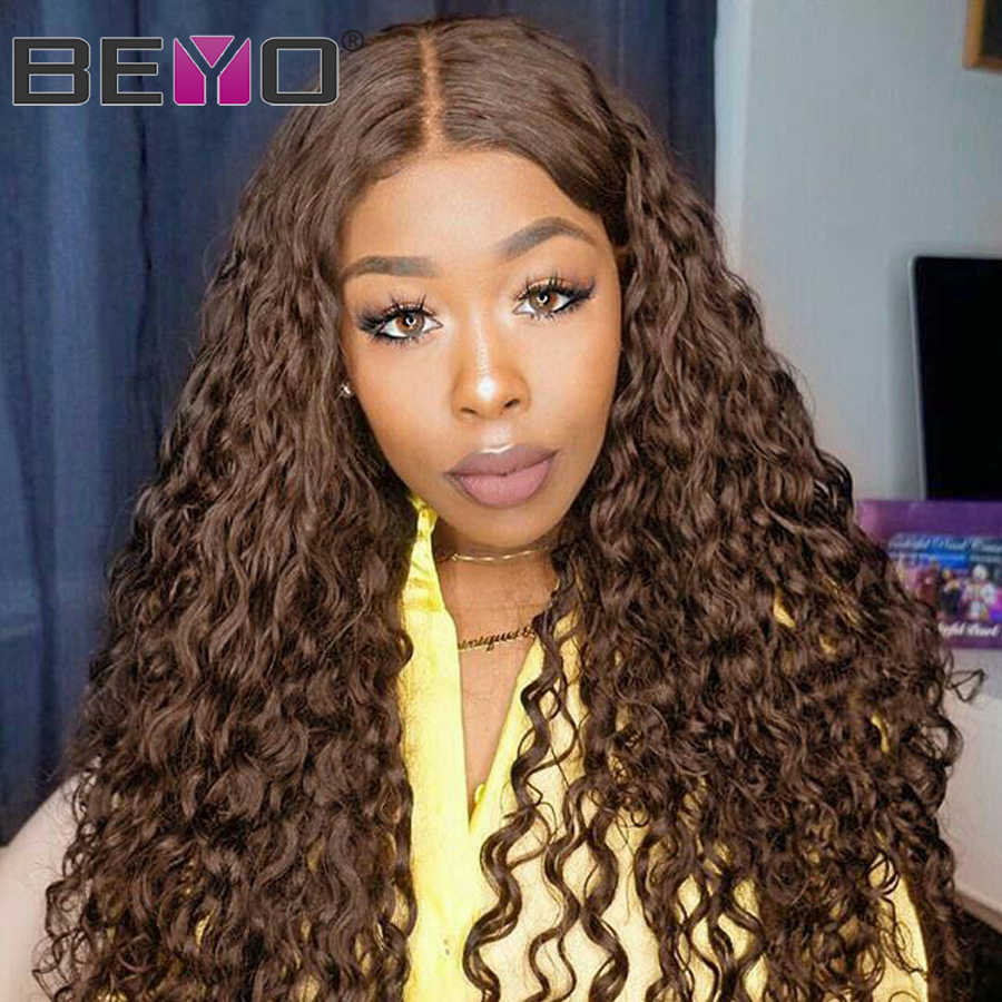 Brazilian Water Wave Lace Frontal Wig Glueless Lace Front Human Hair Wigs Pre Plucked Brown Lace Front Wig Beyo Remy Wigs 150%