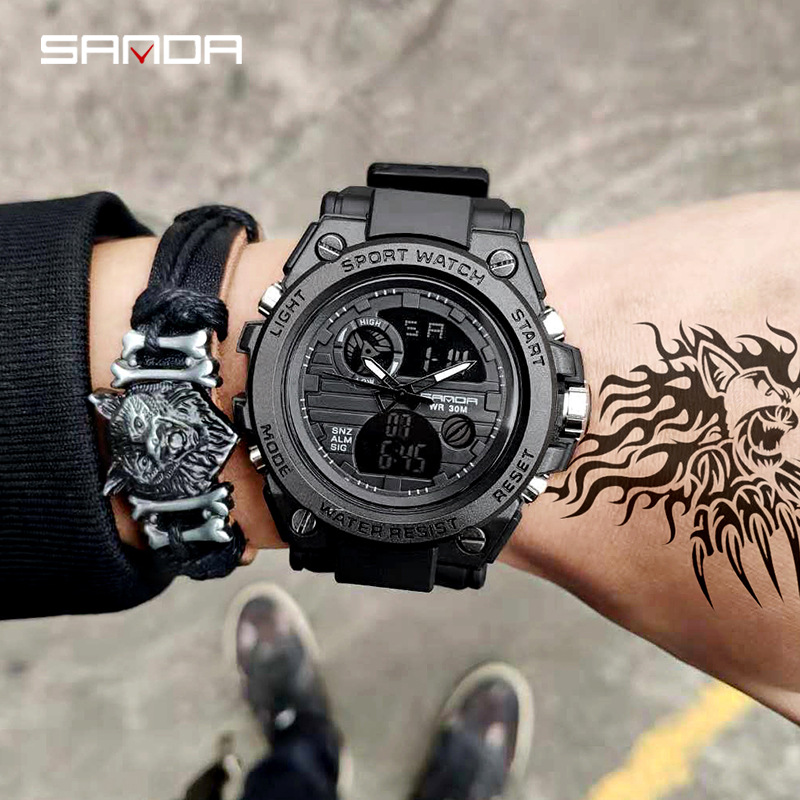 SANDA 739 Sports Men's Watches Top Brand Luxury Military Quartz Watch Men Waterproof S Shock Male Clock relogio masculino 2020 1