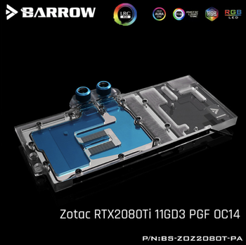Barrow BS-ZOZ2080T-PA, Full Cover Graphics Card Water Cooling Blocks, For Zotac RTX2080Ti 11GD3 PGF OC14  barrow water cooling