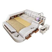 Cadre de lit de massage multifonctionnel en cuir véritable camas nordique lit ultime lumière LED haut-parleur Bluetooth coffre-fort porte à porte