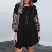 Robe à manches longues pour femmes, nouveau Style, col rond, décontracté, imprimé léopard, trois quarts, couleur