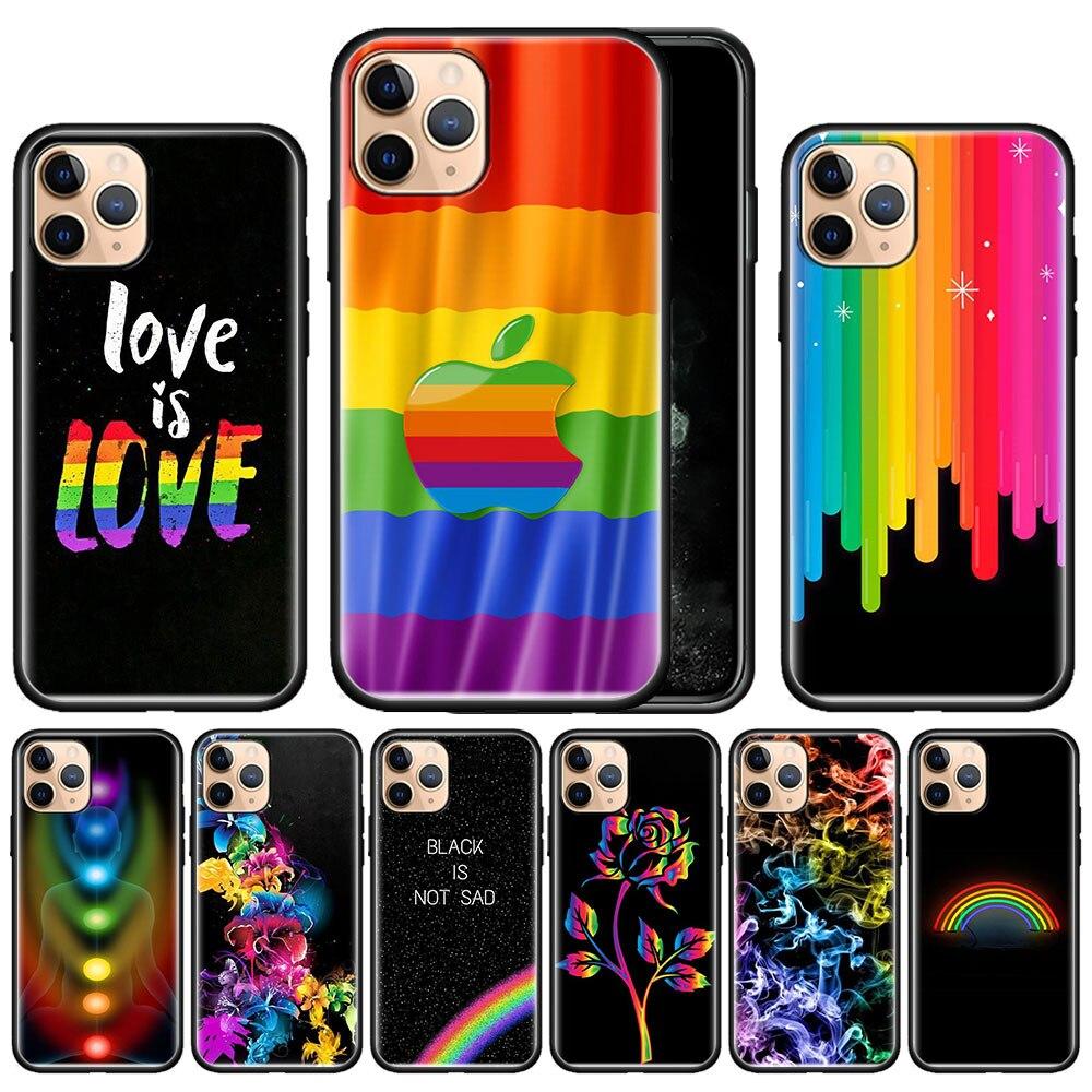 Гей лесбиянок ЛГБТ Радуга чехол для Apple iphone 11 Pro Max XS X XR 7 8 6 6S Plus 5 5S SE Черный силиконовый чехол для телефона Caso