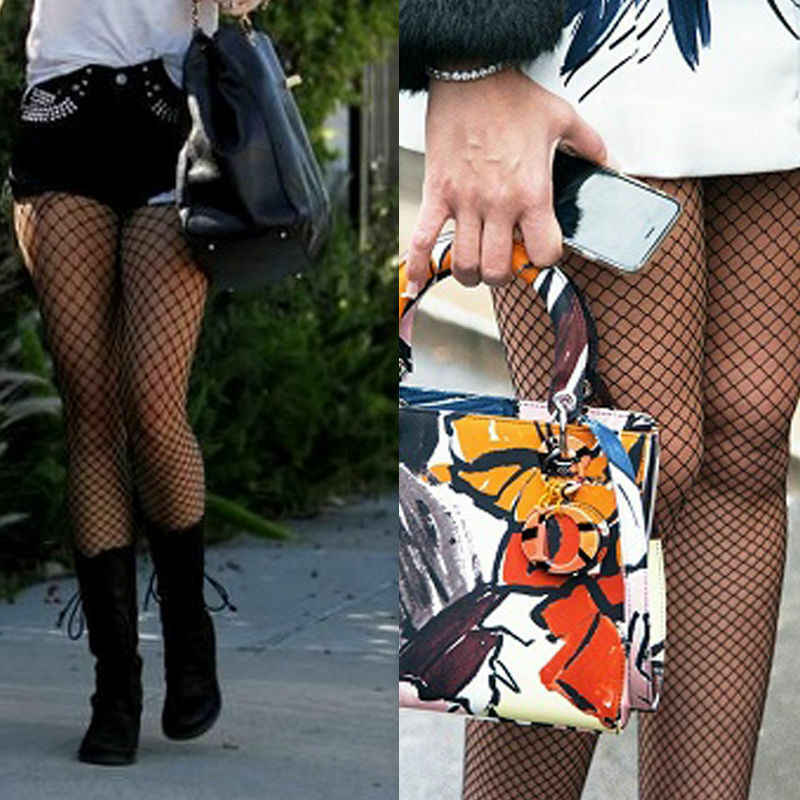Big Hole mujer señoras negro malla grande red pantimedias con patrón medias calcetín Sexy calle alta ropa pantalones cortos Mujer popular