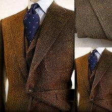 Мужские костюмы коричневого цвета на заказ из смеси шерсти, винтажные твидовые смокинги, Блейзер, брюки