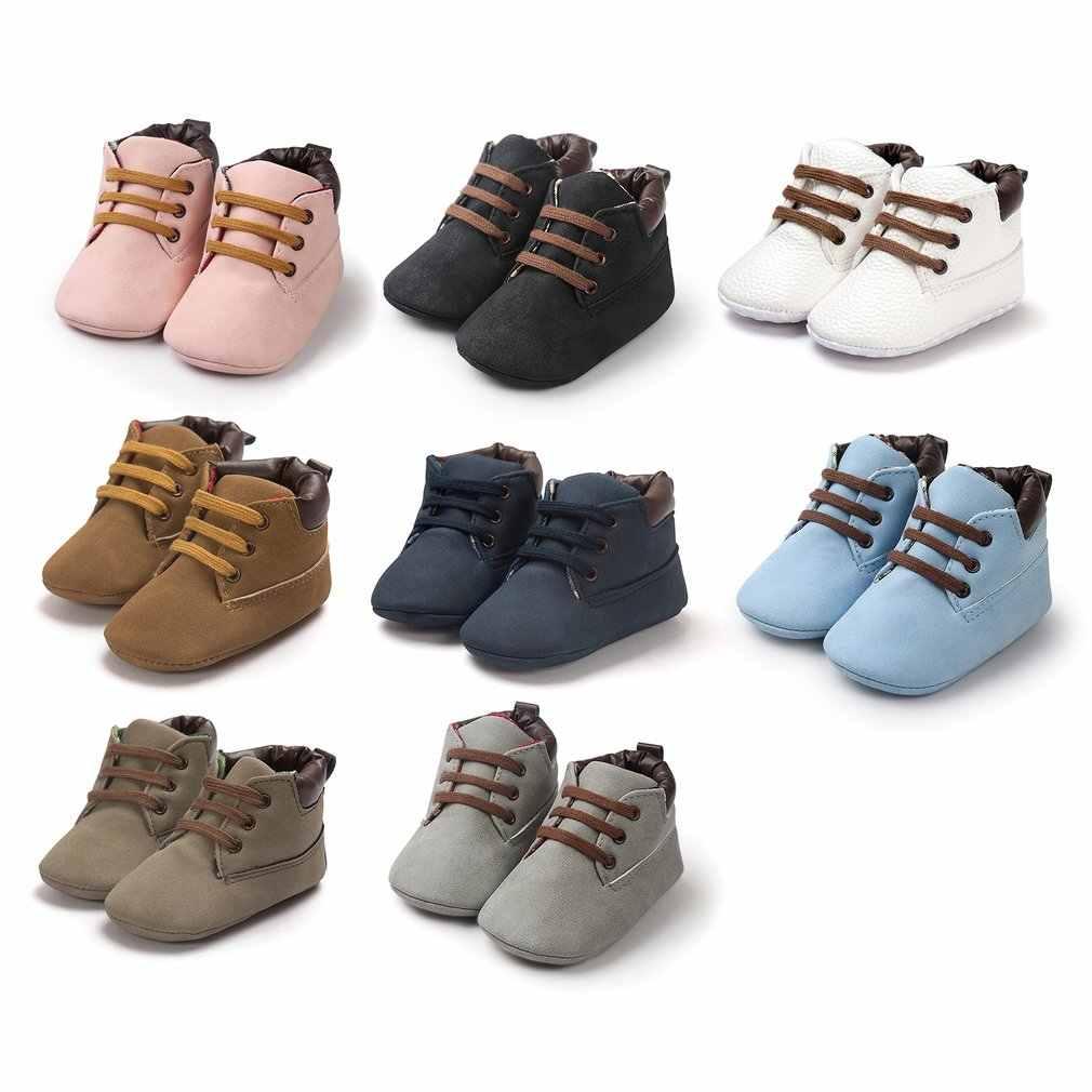 OUTAD bebek ayakkabıları çocuk çocuk rahat sıcak dantel-up düz ayakkabı düz renk yumuşak tabanlı botlar yenidoğan erkek ve kızlar için yeni satış
