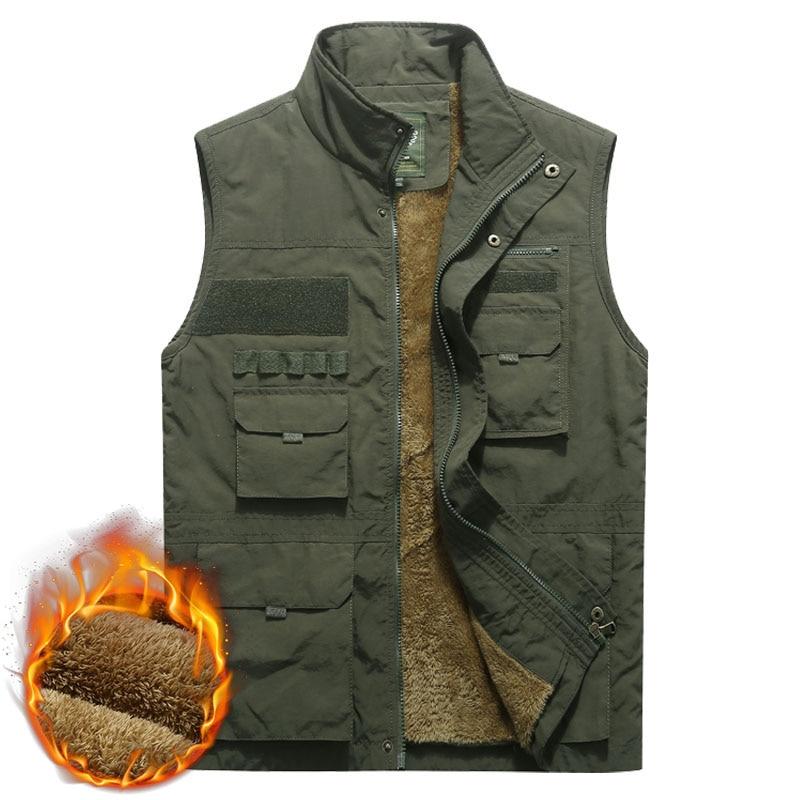 Thicken Fleece Waterproof Winter Vest Mens Multi Pockets Spring Autumn Waistcoat Photographer Mandarin Collar Sleeveless Jacket