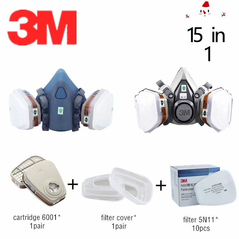 15 In 1 3M Gas Respirator Mask 7502 6200 With Filter 6001 Organic Gases Fumes Work Safety Chemical Air Dust Mask
