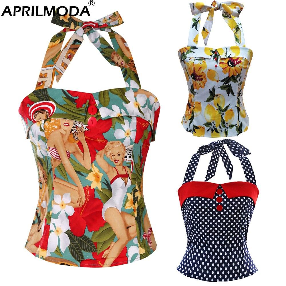 Женские винтажные укороченные топы в стиле ретро, летняя одежда в западном стиле для девушек в стиле 50-60-х годов, рубашки на пуговицах, сексу...