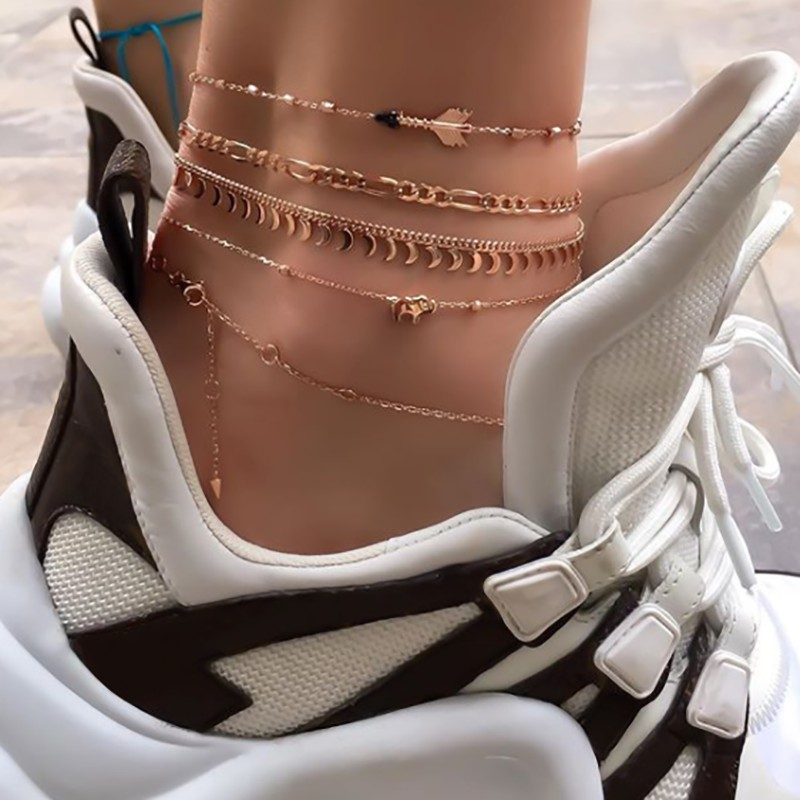 Tocona Multi layer Fine Gold Anklet Set Boho Style Elephant Moon Feet Bracelet on Leg Women Barefoot Sandals Foot Jewelry 8634