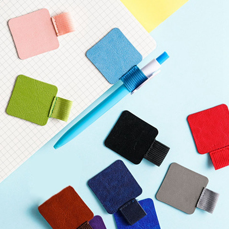 Self-adhesive Leather Pen Clip Pencil Elastic Loop For Notebooks Journals Clipboards Pen Holder