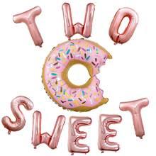 Ensemble de ballons en forme de Donut Rose or, 16 pouces, deux lettres douces, décor de fête prénatale, 2e anniversaire, fournisseur de fête