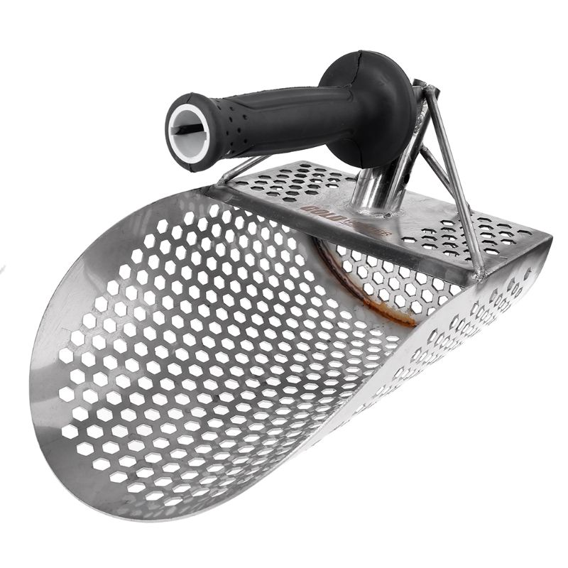 Sand Scoop for Metal Detecting  Stainless Steel with Hexahedron Holes for Beach Treasure Hunting + Plastic Handle Spade & Shovel     - title=
