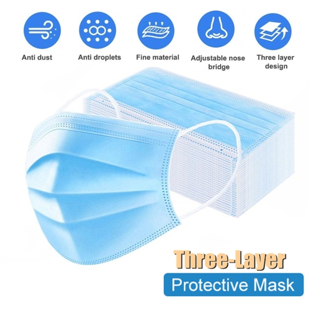 3 Laye NonWoven Masks Elastic Breathable Safety Masks Antibacterial Face protection Masks Filtration Thickened Mouth Masks