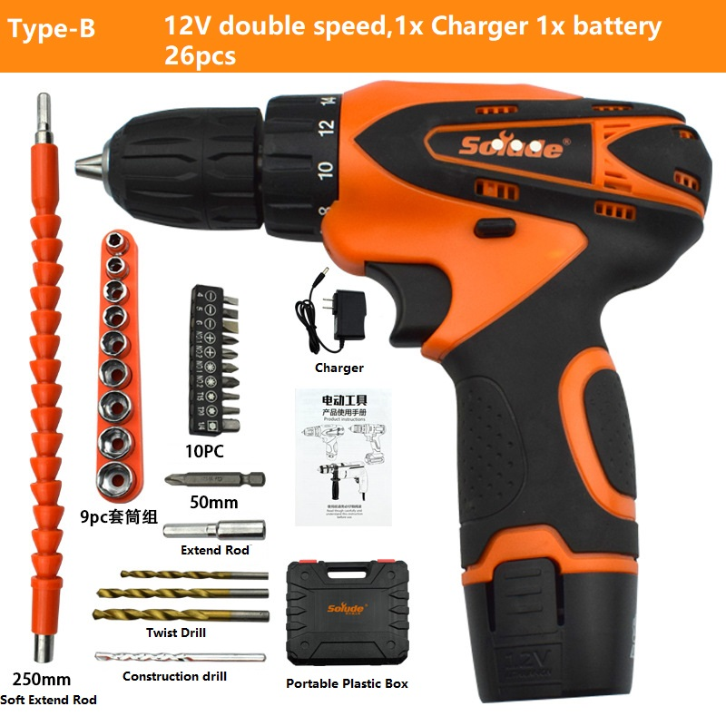Electric Drill 12V 21V Cordless Drill Torque Electric Screwdriver Mini Wireless Power Driver DC Lithium-Ion Battery Home DIY image