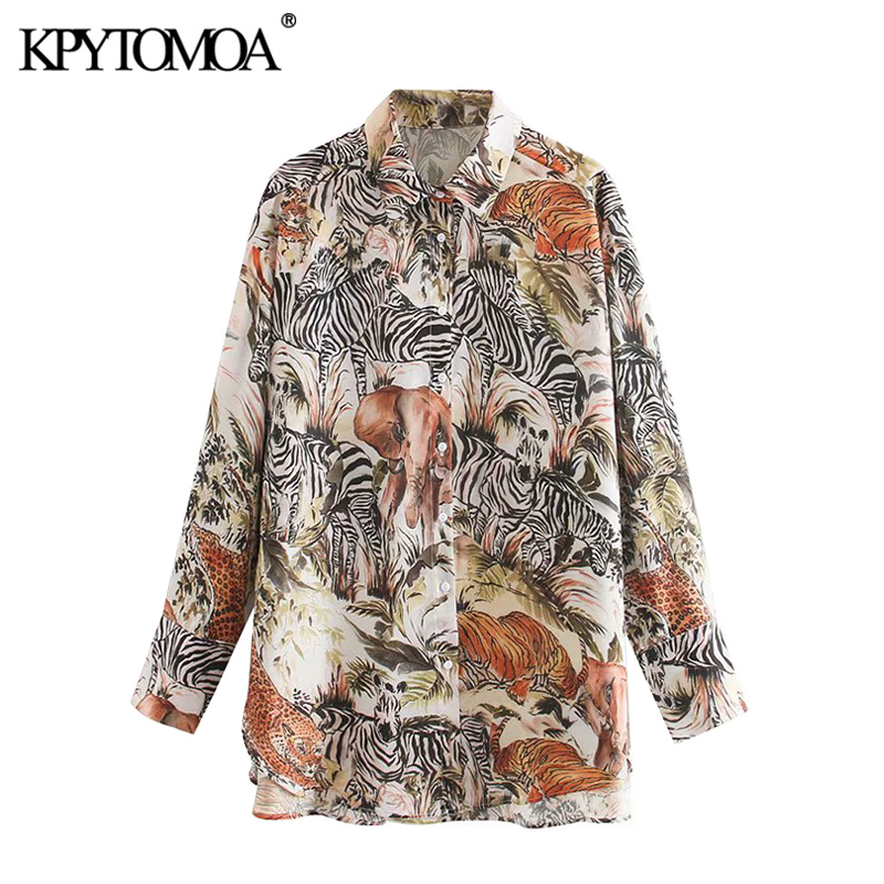 KPYTOMOA Women 2020 Fashion Oversized Animal Print Blouses Vintage Long Sleeve Asymmetric Loose Female Shirts Blusas Chic Tops